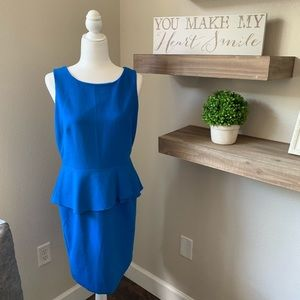 Ann Taylor peplum blue sheath dress 8